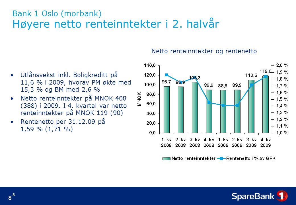 8 8 Bank 1 Oslo (morbank) Høyere netto renteinntekter i 2. halvår Utlånsvekst inkl. Boligkreditt på 11,6 % i 2009, hvorav PM økte med 15,3 % og BM med