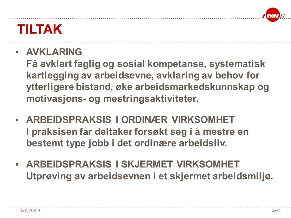 NAV, 16.09.13Side 7 TILTAK  AVKLARING Få avklart faglig og sosial kompetanse, systematisk kartlegging av arbeidsevne, avklaring av behov for ytterlig