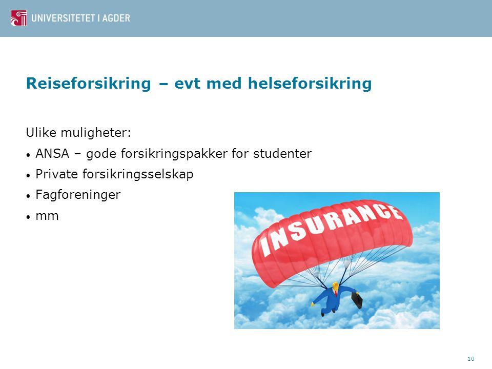 Reiseforsikring – evt med helseforsikring Ulike muligheter: ANSA – gode forsikringspakker for studenter Private forsikringsselskap Fagforeninger mm 10