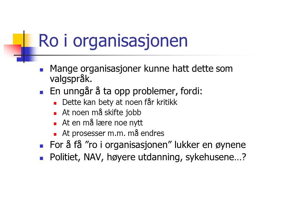 Ro i organisasjonen Mange organisasjoner kunne hatt dette som valgspråk.