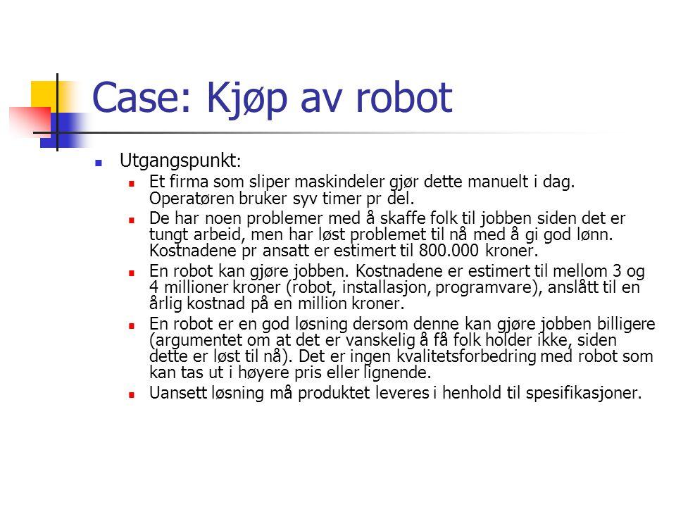 Case: Kjøp av robot Utgangspunkt : Et firma som sliper maskindeler gjør dette manuelt i dag.
