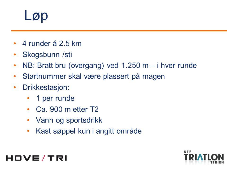 4 runder á 2.5 km Skogsbunn /sti NB: Bratt bru (overgang) ved 1.250 m – i hver runde Startnummer skal være plassert på magen Drikkestasjon: 1 per runde Ca.