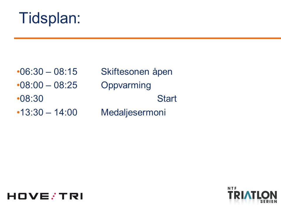 Tidsplan: 06:30 – 08:15 Skiftesonen åpen 08:00 – 08:25 Oppvarming 08:30 Start 13:30 – 14:00 Medaljesermoni