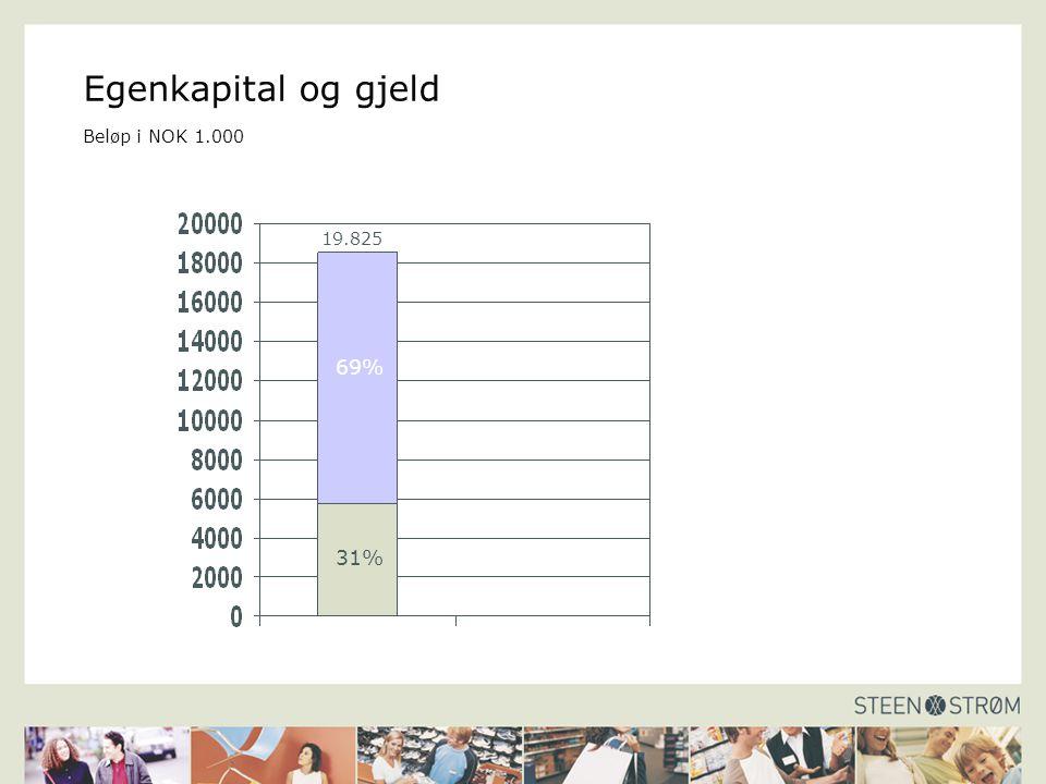 Egenkapital og gjeld Beløp i NOK 1.000 69% 31% 19.825