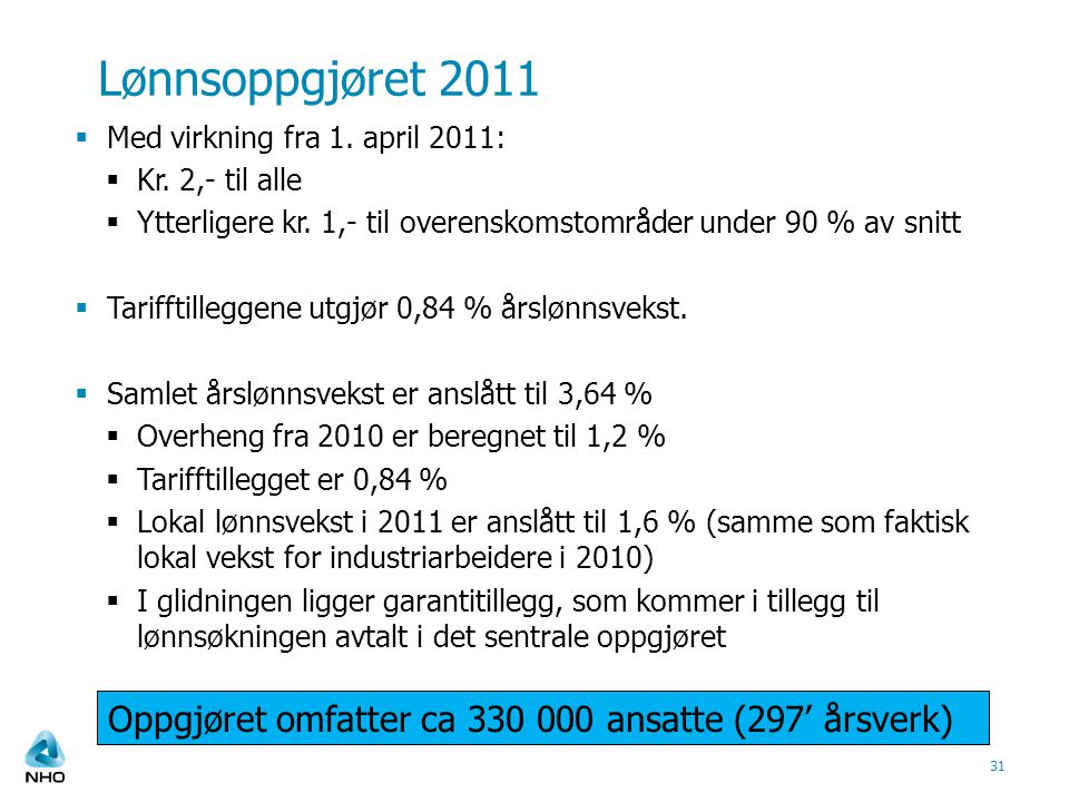 Lønnsoppgjøret 2011  Med virkning fra 1. april 2011:  Kr.