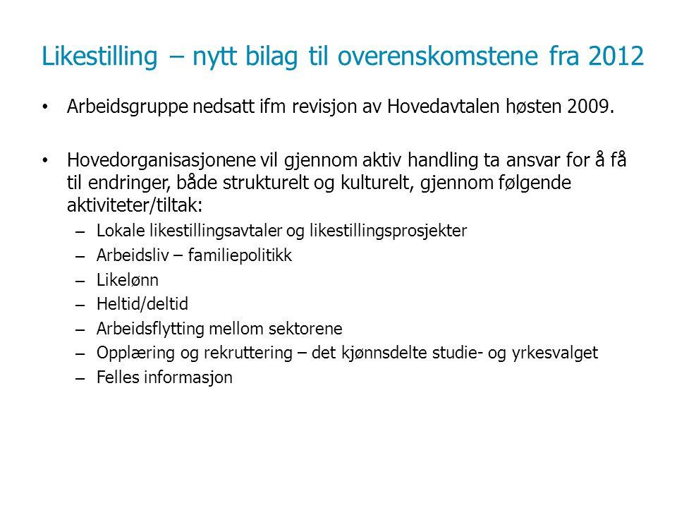 Likestilling – nytt bilag til overenskomstene fra 2012 Arbeidsgruppe nedsatt ifm revisjon av Hovedavtalen høsten 2009.
