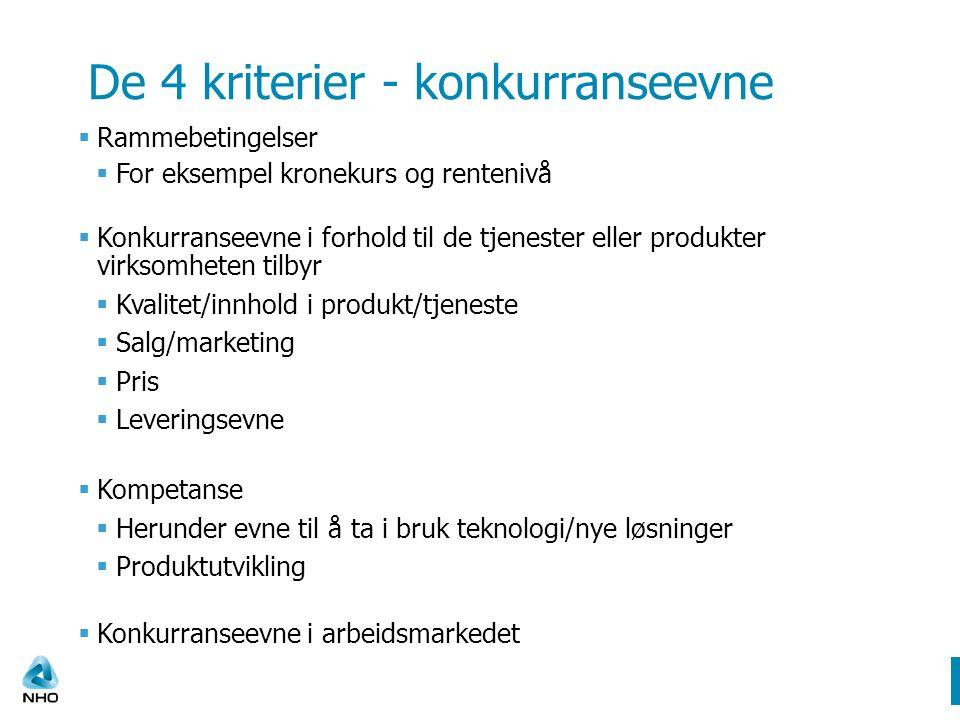De 4 kriterier - konkurranseevne  Rammebetingelser  For eksempel kronekurs og rentenivå  Konkurranseevne i forhold til de tjenester eller produkter virksomheten tilbyr  Kvalitet/innhold i produkt/tjeneste  Salg/marketing  Pris  Leveringsevne  Kompetanse  Herunder evne til å ta i bruk teknologi/nye løsninger  Produktutvikling  Konkurranseevne i arbeidsmarkedet