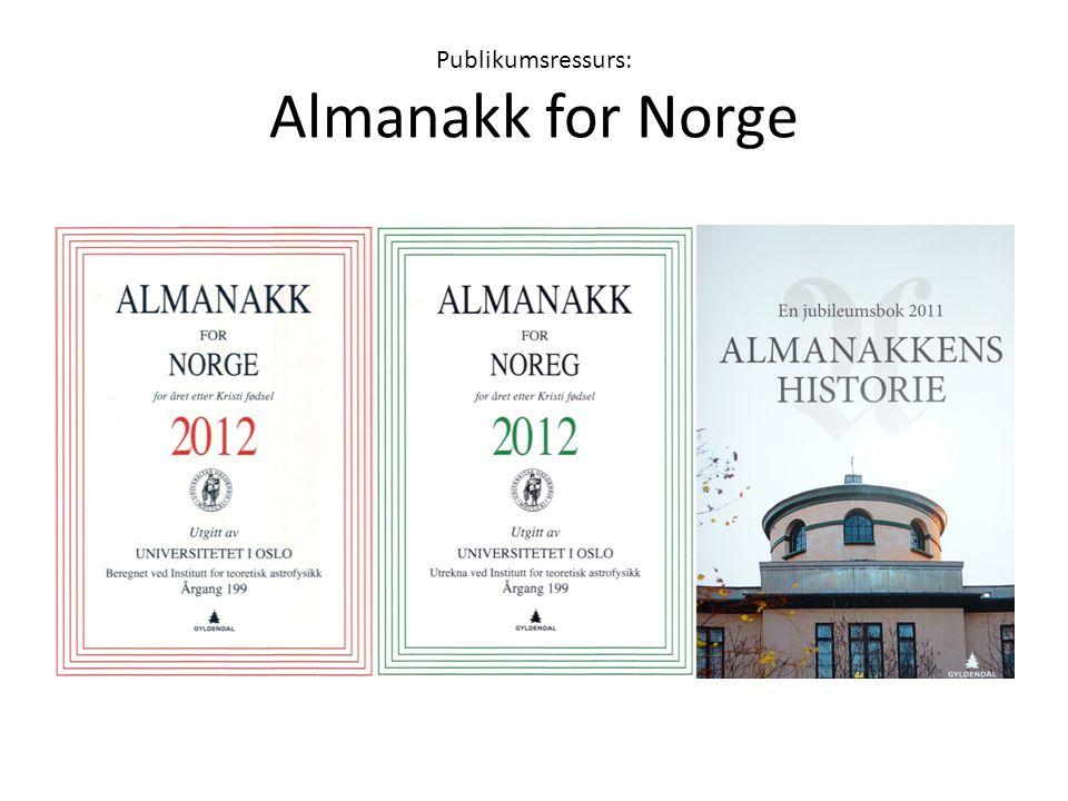Publikumsressurs: Almanakk for Norge