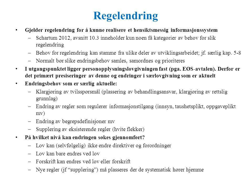 Regelendring Gjelder regelendring for å kunne realisere et hensiktsmessig informasjonssystem –Schartum 2012, avsnitt 10.3 inneholder kun noen få kategorier av behov for slik regelendring –Behov for regelendring kan stamme fra ulike deler av utviklingsarbeidet; jf.