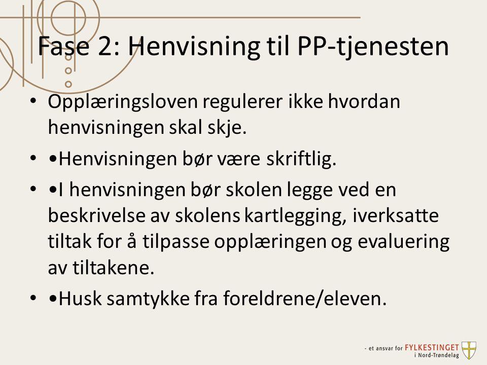 Fase 2: Henvisning til PP-tjenesten Opplæringsloven regulerer ikke hvordan henvisningen skal skje. Henvisningen bør være skriftlig. I henvisningen bør