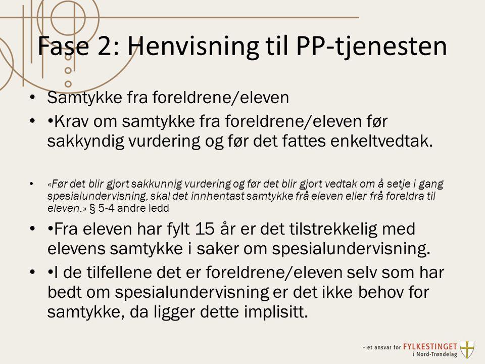 Fase 2: Henvisning til PP-tjenesten Samtykke fra foreldrene/eleven Krav om samtykke fra foreldrene/eleven før sakkyndig vurdering og før det fattes en