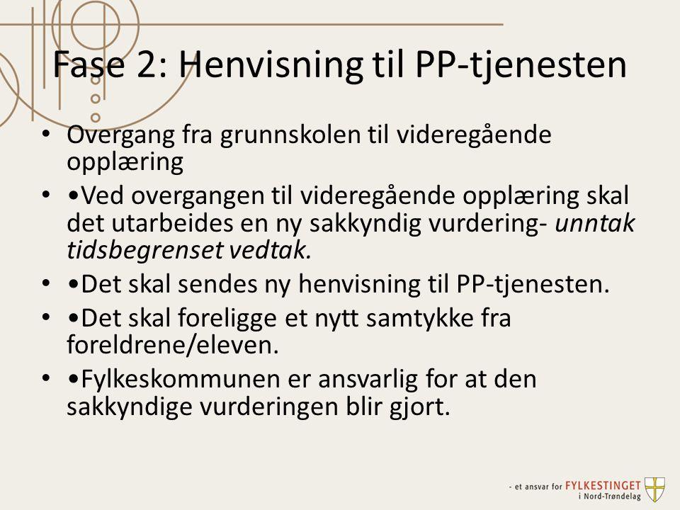 Fase 2: Henvisning til PP-tjenesten Overgang fra grunnskolen til videregående opplæring Ved overgangen til videregående opplæring skal det utarbeides