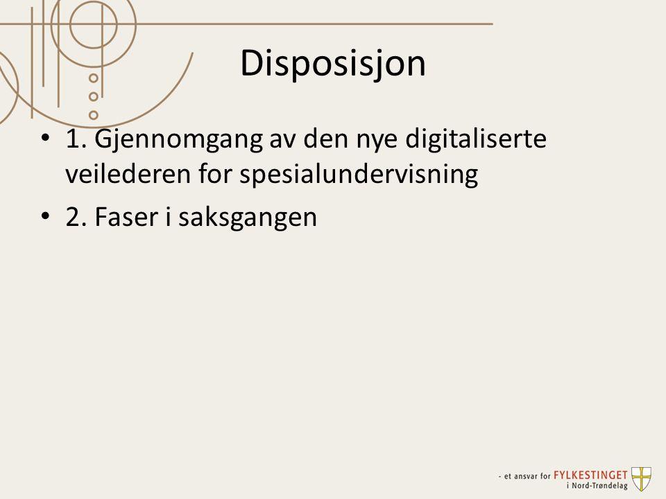Disposisjon 1. Gjennomgang av den nye digitaliserte veilederen for spesialundervisning 2. Faser i saksgangen