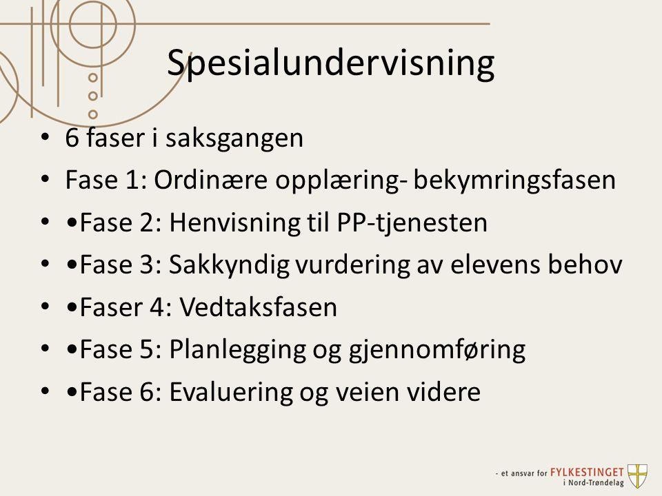 Spesialundervisning 6 faser i saksgangen Fase 1: Ordinære opplæring- bekymringsfasen Fase 2: Henvisning til PP-tjenesten Fase 3: Sakkyndig vurdering a