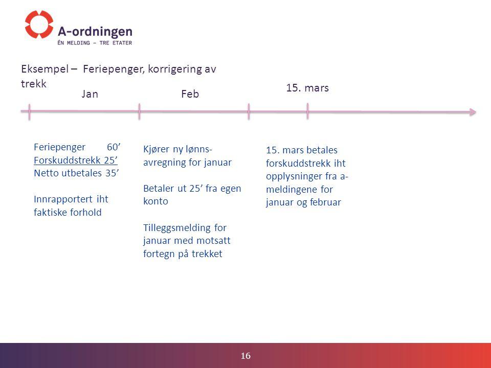 16 JanFeb 15. mars Eksempel – Feriepenger, korrigering av trekk Feriepenger 60' Forskuddstrekk 25' Netto utbetales 35' Innrapportert iht faktiske forh