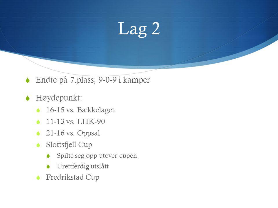 Lag 2  Endte på 7.plass, 9-0-9 i kamper  Høydepunkt:  16-15 vs. Bækkelaget  11-13 vs. LHK-90  21-16 vs. Oppsal  Slottsfjell Cup  Spilte seg opp