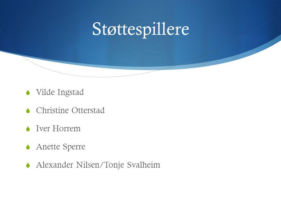 Støttespillere  Vilde Ingstad  Christine Otterstad  Iver Horrem  Anette Sperre  Alexander Nilsen/Tonje Svalheim