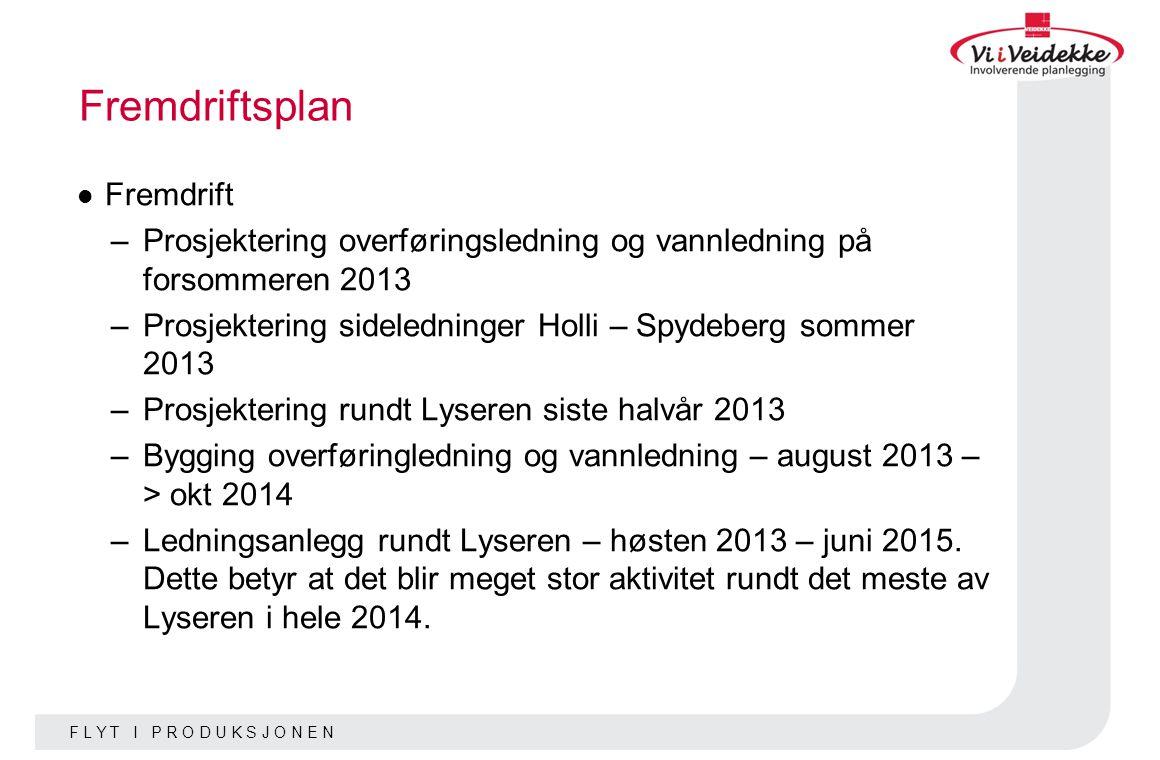 F L Y T I P R O D U K S J O N E N Fremdriftsplan Fremdrift –Prosjektering overføringsledning og vannledning på forsommeren 2013 –Prosjektering sideled