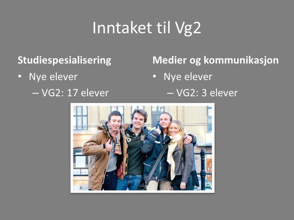 Inntaket til Vg2 Studiespesialisering Nye elever – VG2: 17 elever Medier og kommunikasjon Nye elever – VG2: 3 elever
