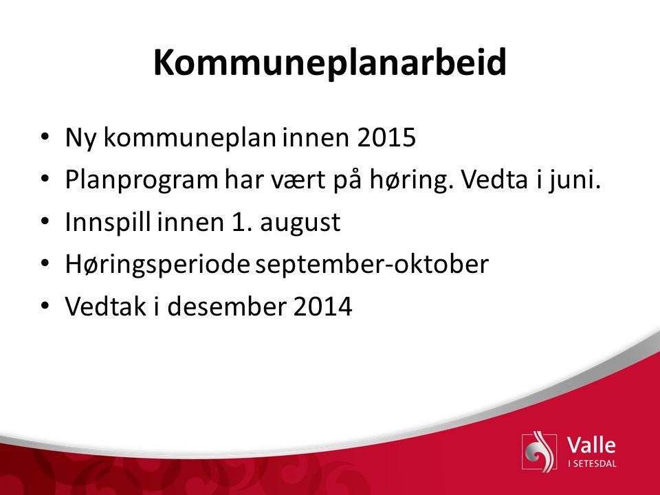 Kommuneplanarbeid Ny kommuneplan innen 2015 Planprogram har vært på høring. Vedta i juni. Innspill innen 1. august Høringsperiode september-oktober Ve
