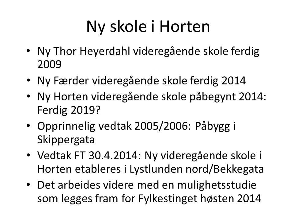 Ny Thor Heyerdahl videregående skole ferdig 2009 Ny Færder videregående skole ferdig 2014 Ny Horten videregående skole påbegynt 2014: Ferdig 2019.