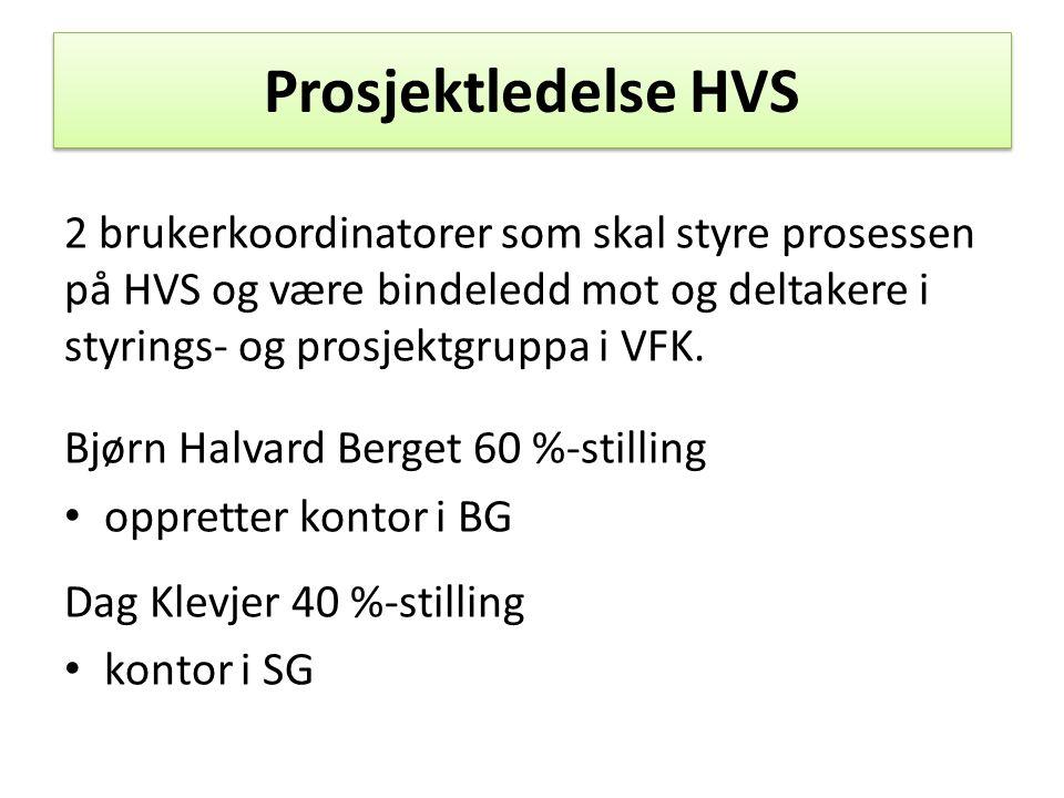 Prosjektledelse HVS 2 brukerkoordinatorer som skal styre prosessen på HVS og være bindeledd mot og deltakere i styrings- og prosjektgruppa i VFK.