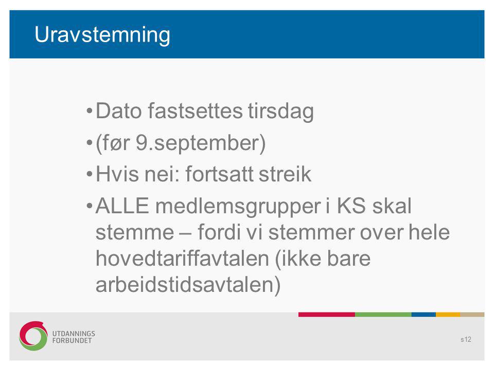Uravstemning Dato fastsettes tirsdag (før 9.september) Hvis nei: fortsatt streik ALLE medlemsgrupper i KS skal stemme – fordi vi stemmer over hele hov