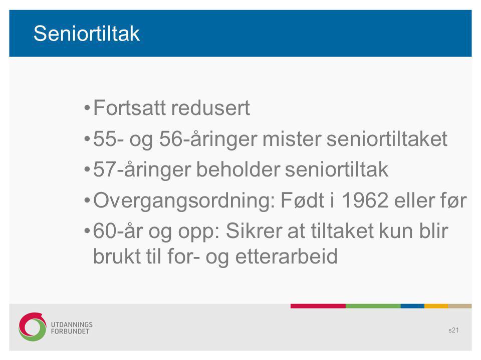 Seniortiltak Fortsatt redusert 55- og 56-åringer mister seniortiltaket 57-åringer beholder seniortiltak Overgangsordning: Født i 1962 eller før 60-år