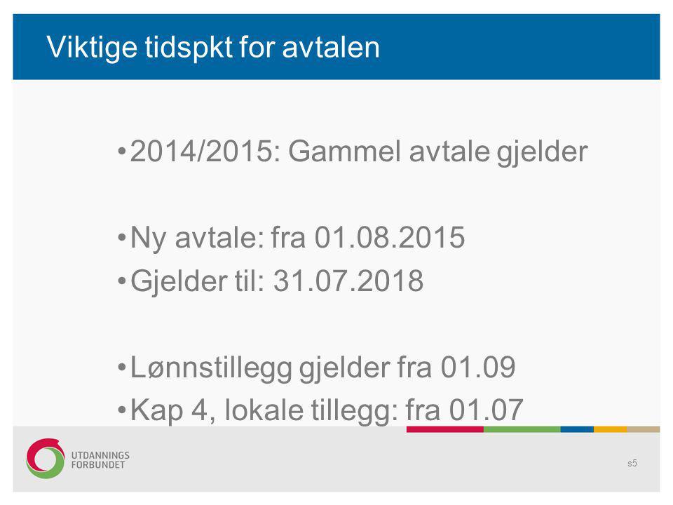 Viktige tidspkt for avtalen 2014/2015: Gammel avtale gjelder Ny avtale: fra 01.08.2015 Gjelder til: 31.07.2018 Lønnstillegg gjelder fra 01.09 Kap 4, l