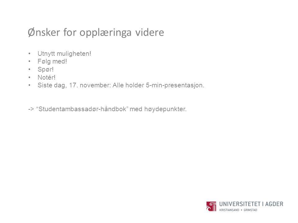 """Ønsker for opplæringa videre Utnytt muligheten! Følg med! Spør! Notér! Siste dag, 17. november: Alle holder 5-min-presentasjon. -> """"Studentambassadør-"""