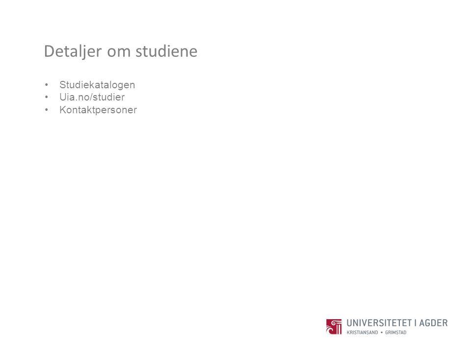Detaljer om studiene Studiekatalogen Uia.no/studier Kontaktpersoner