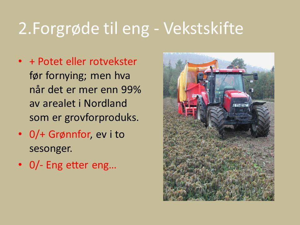 2.Forgrøde til eng - Vekstskifte + Potet eller rotvekster før fornying; men hva når det er mer enn 99% av arealet i Nordland som er grovforproduks. 0/