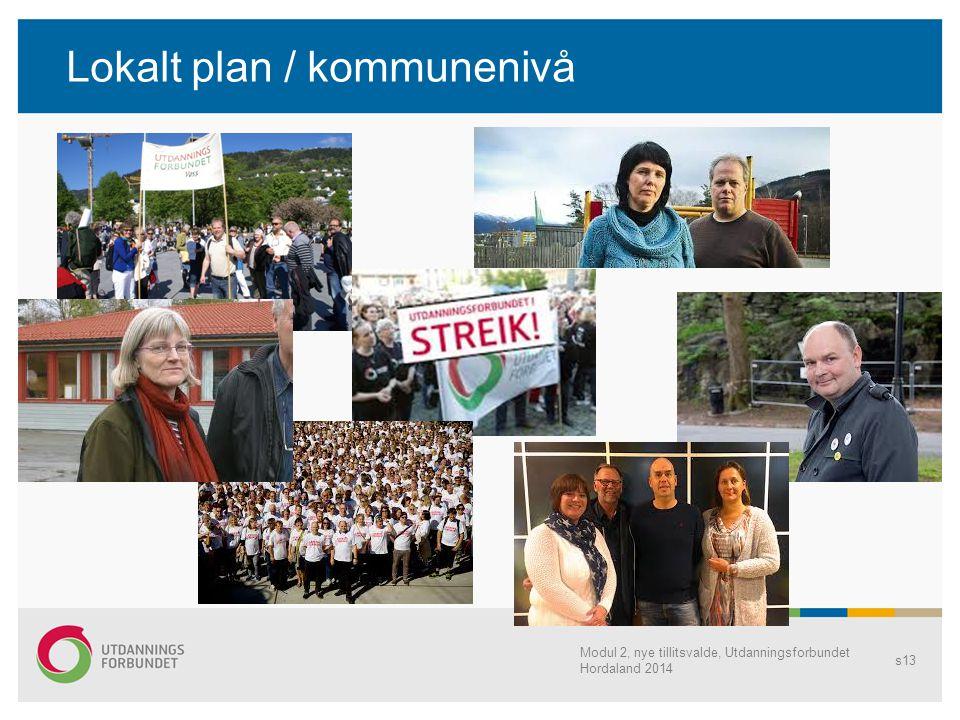 Lokalt plan / kommunenivå Modul 2, nye tillitsvalde, Utdanningsforbundet Hordaland 2014 s13