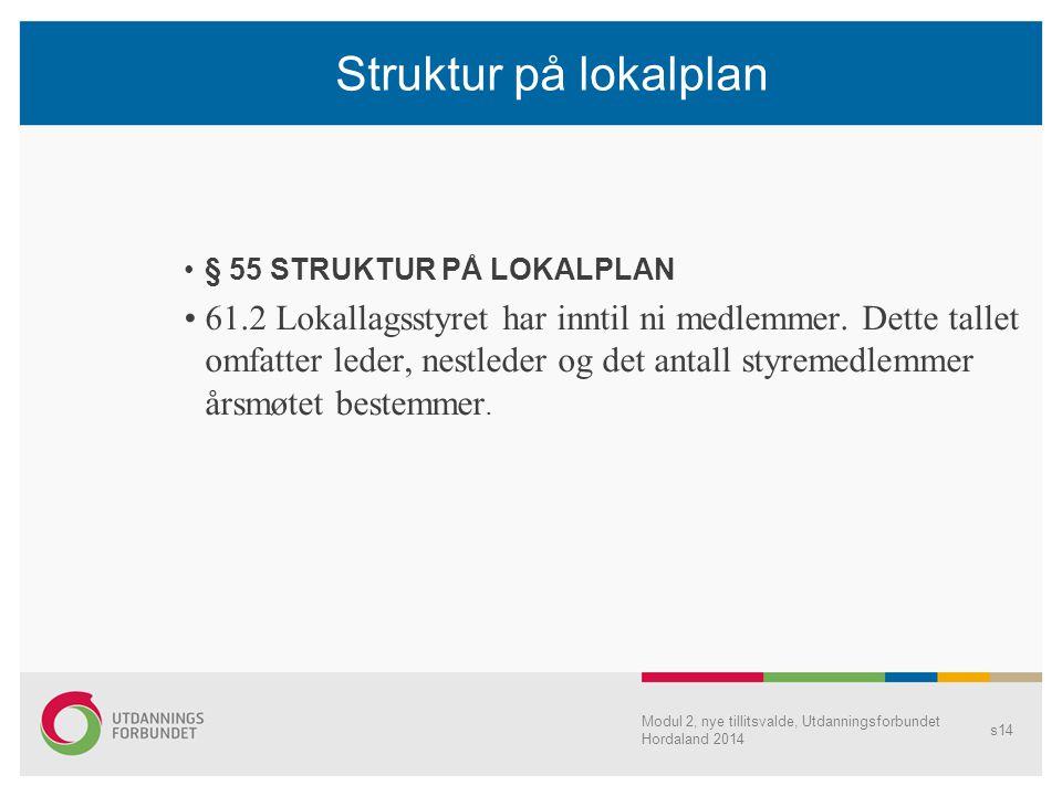 Struktur på lokalplan § 55 STRUKTUR PÅ LOKALPLAN 61.2 Lokallagsstyret har inntil ni medlemmer. Dette tallet omfatter leder, nestleder og det antall st