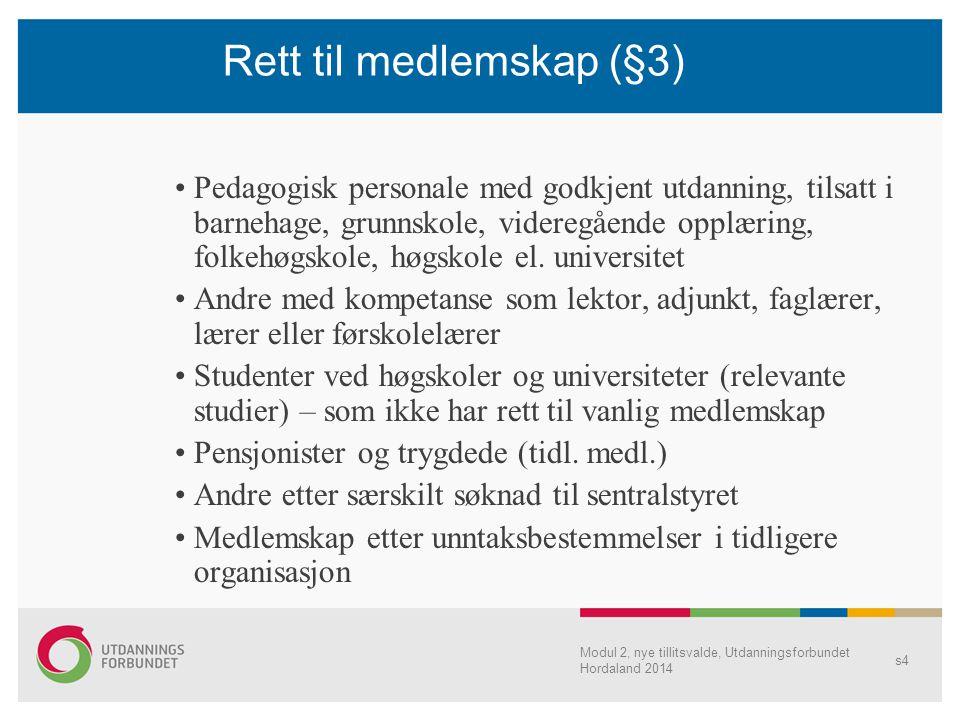 Modul 2, nye tillitsvalde, Utdanningsforbundet Hordaland 2014 s4 Rett til medlemskap (§3) Pedagogisk personale med godkjent utdanning, tilsatt i barne