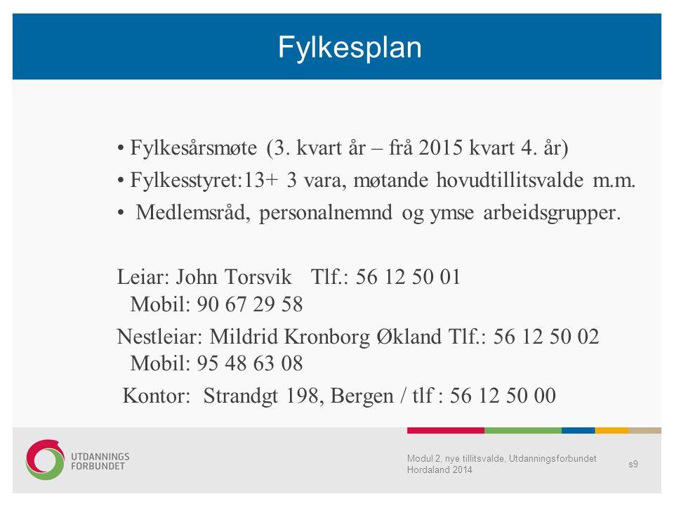 Fylkesplan Fylkesårsmøte (3. kvart år – frå 2015 kvart 4. år) Fylkesstyret:13+ 3 vara, møtande hovudtillitsvalde m.m. Medlemsråd, personalnemnd og yms