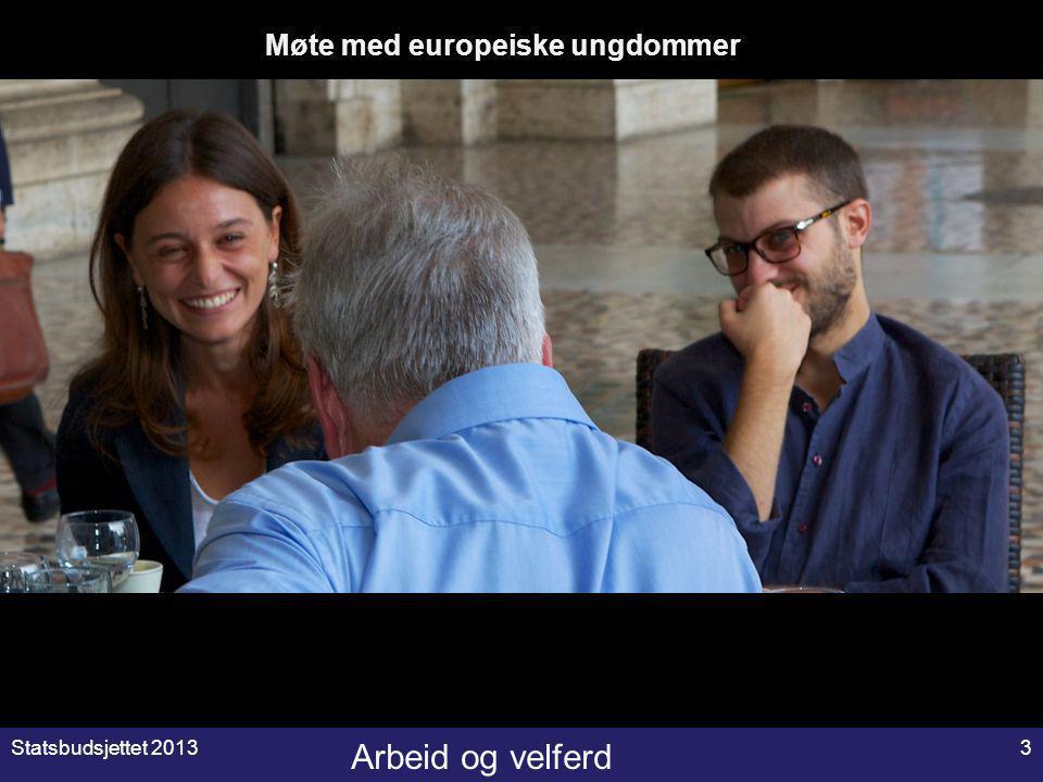 Arbeid og velferd Statsbudsjettet 20133 gM Møte med europeiske ungdommer