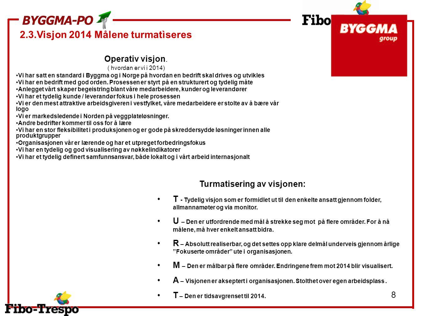 8 Vi har satt en standard i Byggma og i Norge på hvordan en bedrift skal drives og utvikles Vi har en bedrift med god orden. Prosessen er styrt på en