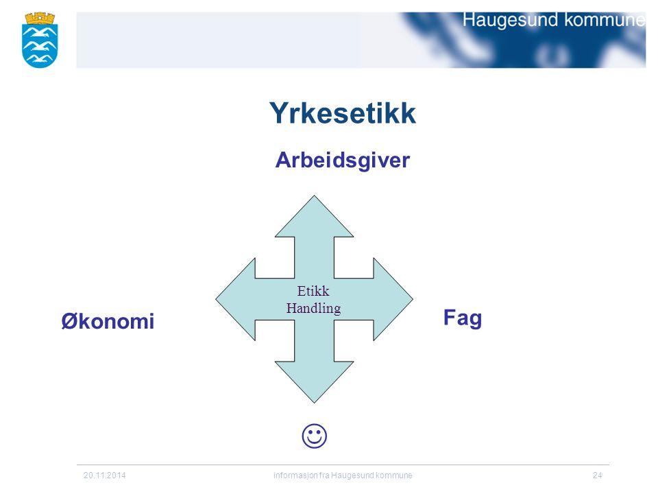 20.11.2014informasjon fra Haugesund kommune24 Yrkesetikk Arbeidsgiver Etikk Handling Økonomi Fag