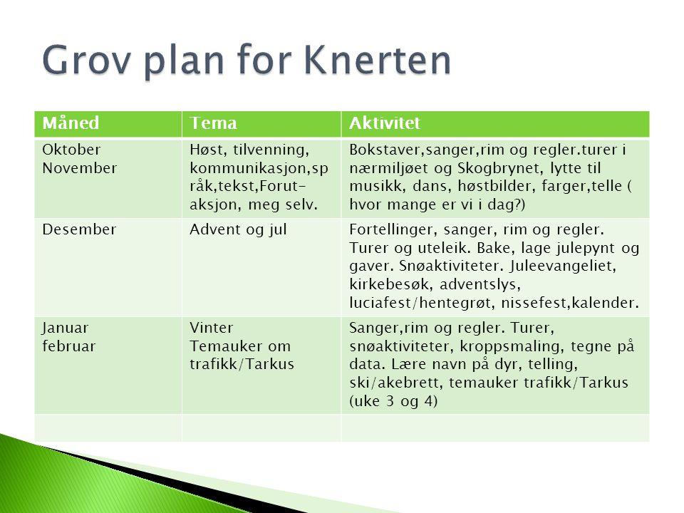 MånedTemaAktivitet Oktober November Høst, tilvenning, kommunikasjon,sp råk,tekst,Forut- aksjon, meg selv.