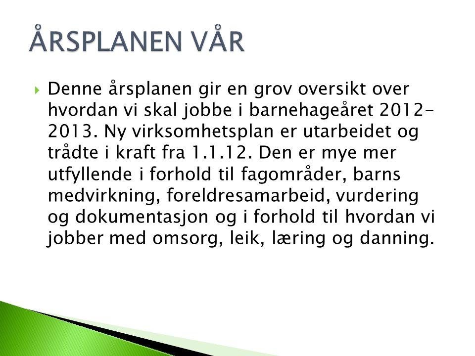  Denne årsplanen gir en grov oversikt over hvordan vi skal jobbe i barnehageåret 2012- 2013.