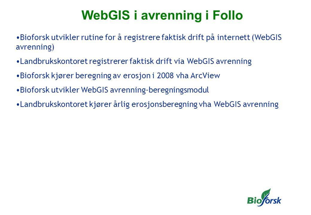 WebGIS i avrenning i Follo Bioforsk utvikler rutine for å registrere faktisk drift på internett (WebGIS avrenning) Landbrukskontoret registrerer faktisk drift via WebGIS avrenning Bioforsk kjører beregning av erosjon i 2008 vha ArcView Bioforsk utvikler WebGIS avrenning-beregningsmodul Landbrukskontoret kjører årlig erosjonsberegning vha WebGIS avrenning