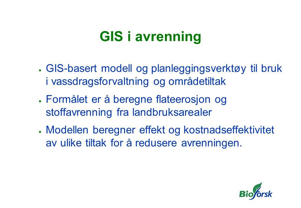 GIS i avrenning  GIS-basert modell og planleggingsverktøy til bruk i vassdragsforvaltning og områdetiltak  Formålet er å beregne flateerosjon og stoffavrenning fra landbruksarealer  Modellen beregner effekt og kostnadseffektivitet av ulike tiltak for å redusere avrenningen.