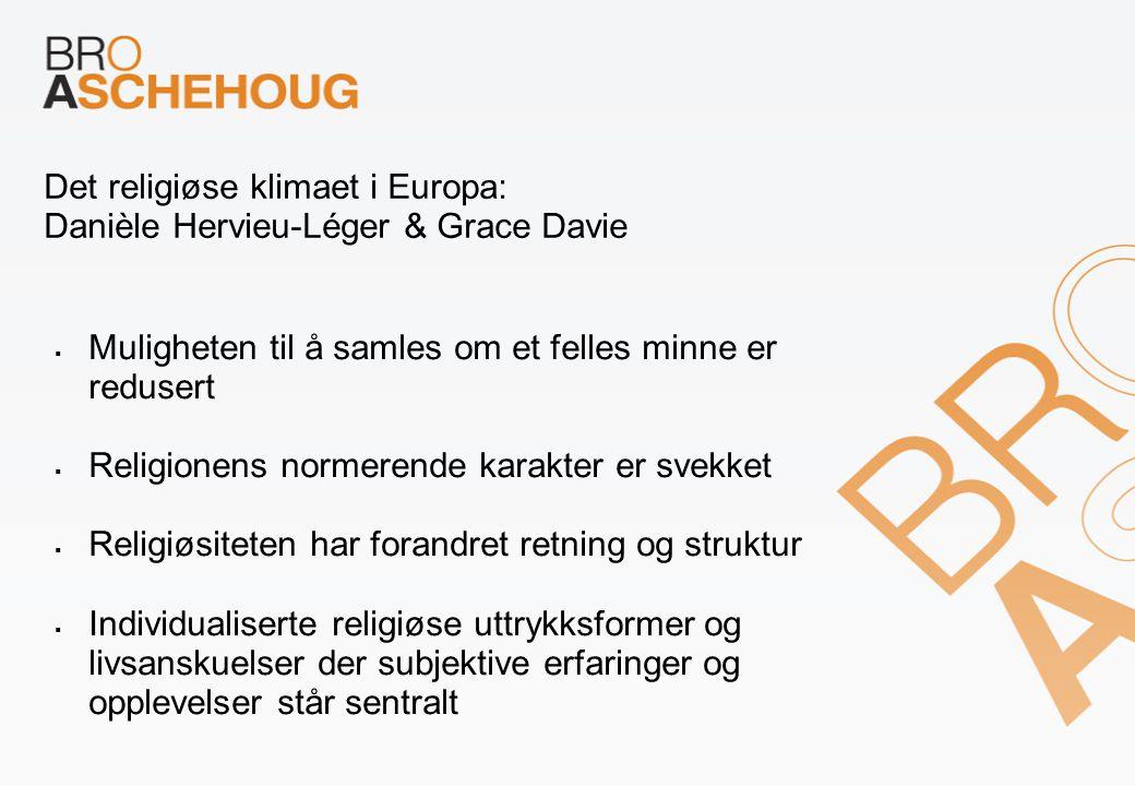 Det religiøse klimaet i Europa: Danièle Hervieu-Léger & Grace Davie  Muligheten til å samles om et felles minne er redusert  Religionens normerende karakter er svekket  Religiøsiteten har forandret retning og struktur  Individualiserte religiøse uttrykksformer og livsanskuelser der subjektive erfaringer og opplevelser står sentralt