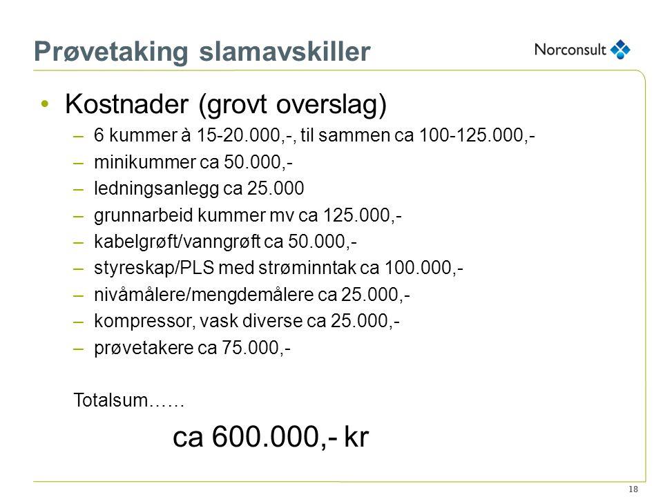 18 Prøvetaking slamavskiller Kostnader (grovt overslag) –6 kummer à 15-20.000,-, til sammen ca 100-125.000,- –minikummer ca 50.000,- –ledningsanlegg c