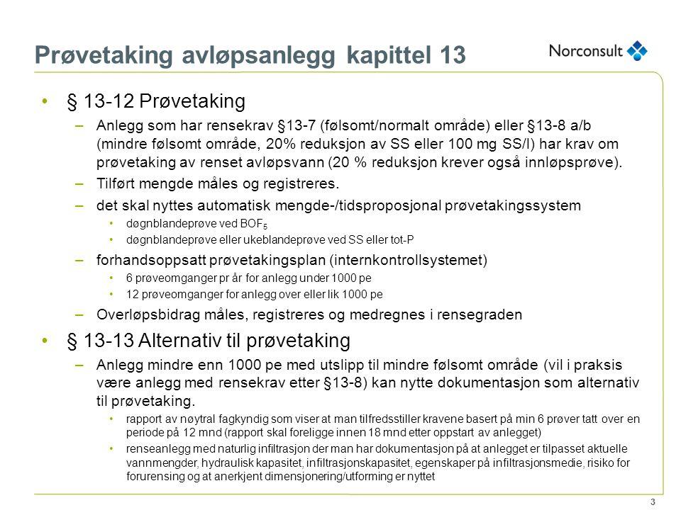 3 Prøvetaking avløpsanlegg kapittel 13 § 13-12 Prøvetaking –Anlegg som har rensekrav §13-7 (følsomt/normalt område) eller §13-8 a/b (mindre følsomt om
