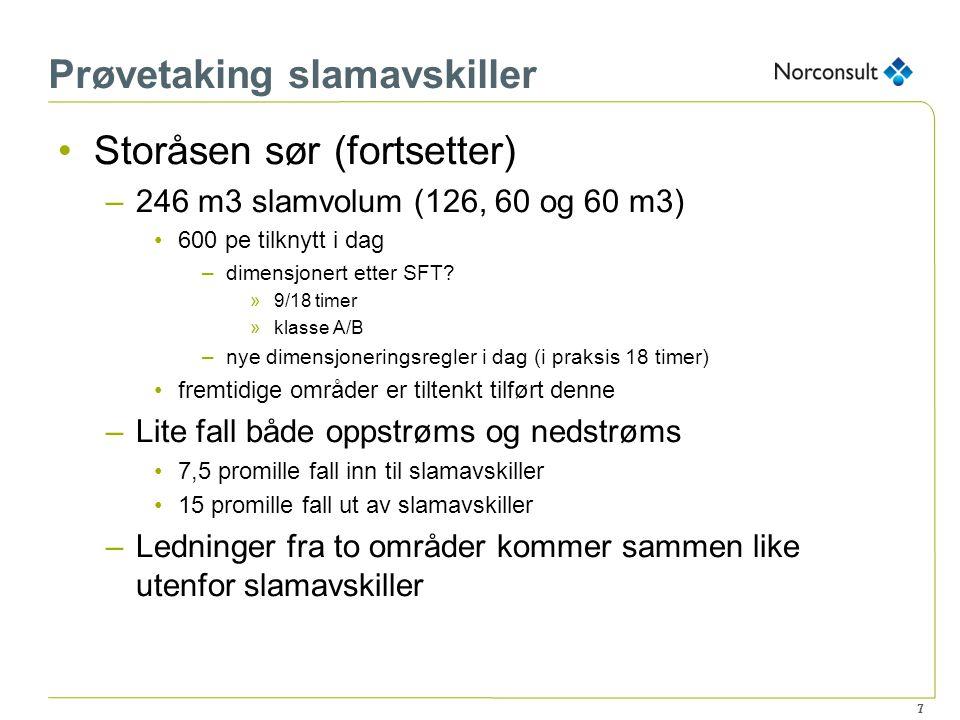 7 Prøvetaking slamavskiller Storåsen sør (fortsetter) –246 m3 slamvolum (126, 60 og 60 m3) 600 pe tilknytt i dag –dimensjonert etter SFT? »9/18 timer