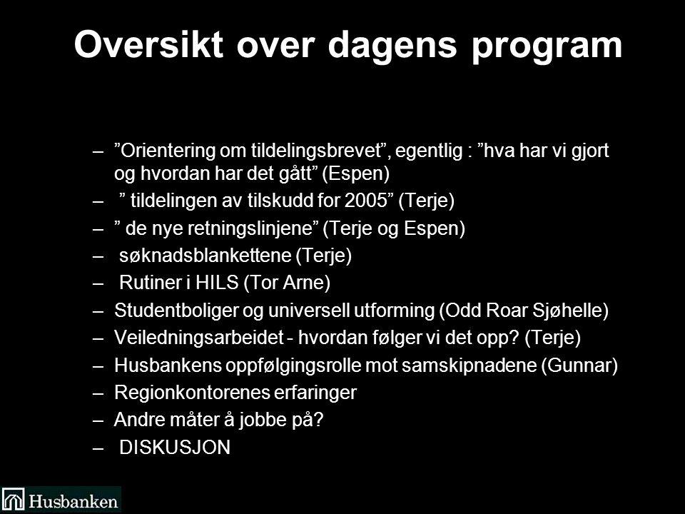 Oversikt over dagens program – Orientering om tildelingsbrevet , egentlig : hva har vi gjort og hvordan har det gått (Espen) – tildelingen av tilskudd for 2005 (Terje) – de nye retningslinjene (Terje og Espen) – søknadsblankettene (Terje) – Rutiner i HILS (Tor Arne) –Studentboliger og universell utforming (Odd Roar Sjøhelle) –Veiledningsarbeidet - hvordan følger vi det opp.