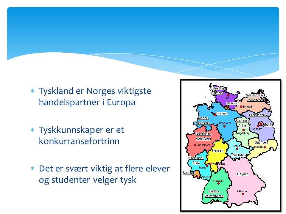  Tyskland er Norges viktigste handelspartner i Europa  Tyskkunnskaper er et konkurransefortrinn  Det er svært viktig at flere elever og studenter velger tysk