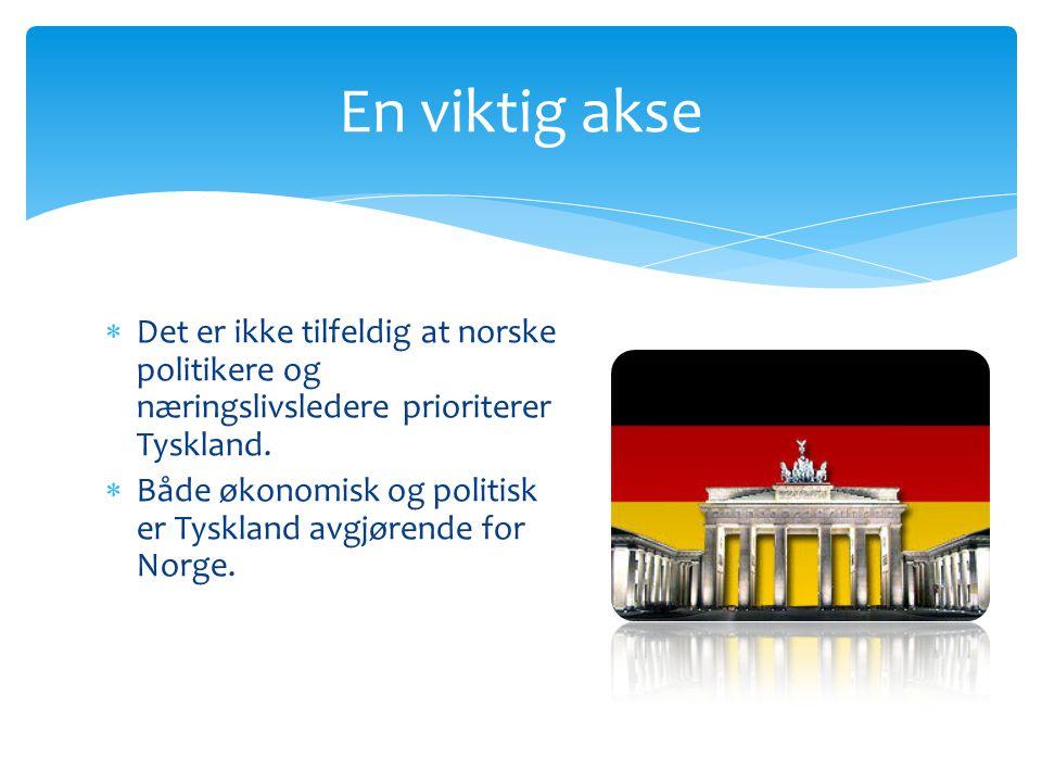  Tyskland spiller en sentral rolle, for Tyskland er for tiden Norges viktigste partner i Europa.